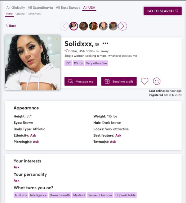 Member profile on Victoria Milan